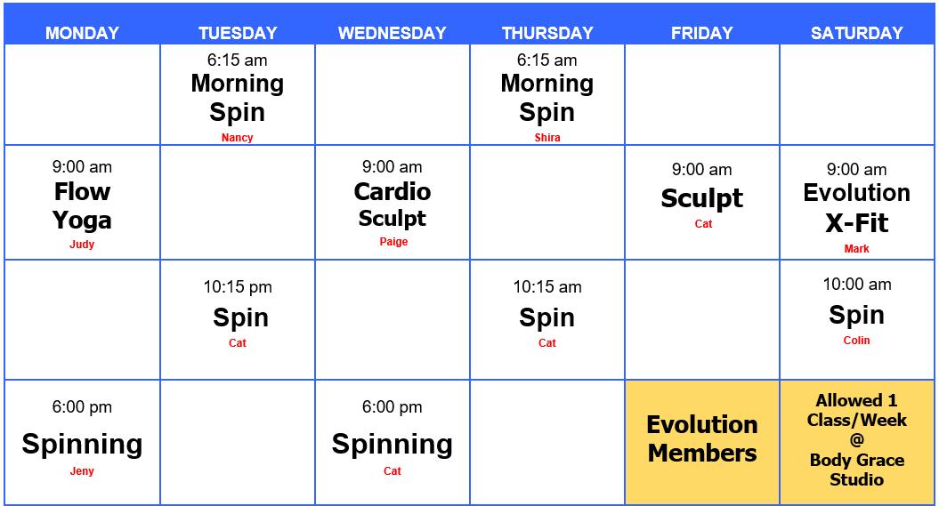 Class schedule 2020